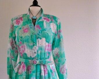 Vintage 80s aqua floral print sheer dress sz 12 w/belt