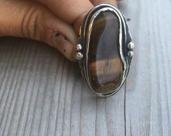 Sterling silver tiger eye ring