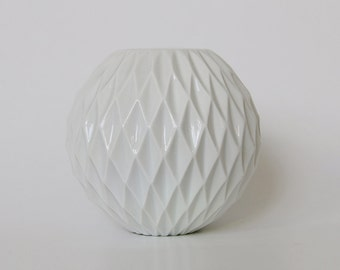 Modernist German Panton Era Space Age Op Art White Honeycomb Vase - Thomas 60s