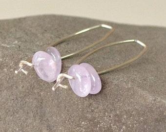 Amethyst Earrings, Modern Earrings, Lilac Earrings, Soft Purple Earrings