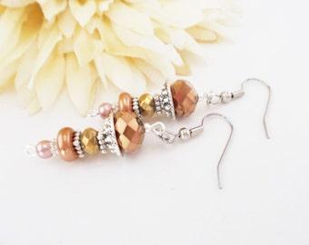 Gypsy Beaded Earrings, Pearl Drop Earrings, Crystal Earrings, Copper Earrings, Clip On Earrings, Pewter Earrings, Bronze Earrings