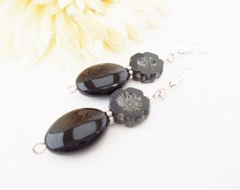 Black Flower Earrings, Black Czech Glass Earrings, Statement Earrings, Classic Black Beaded Earrings, Dangle, Handmade, Artisan Earrings