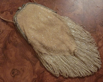 Victorian White Beaded and Fringed Handbag -Antique