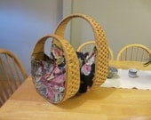 2 Rare Wicker and Fabric Knitting Bags / Purses