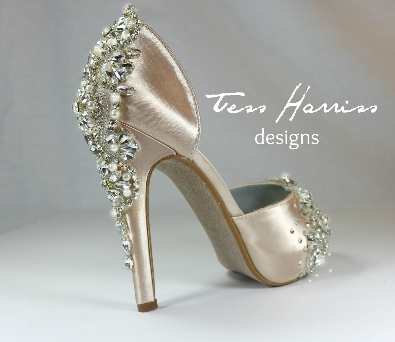 sparkling champagne wedding shoes by tessharrissdesigns on etsy