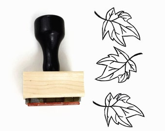 Rubber Stamp Maple Leaf 2 - Autumn Fall Leaves - Wood Mounted Stamp by Creatiate