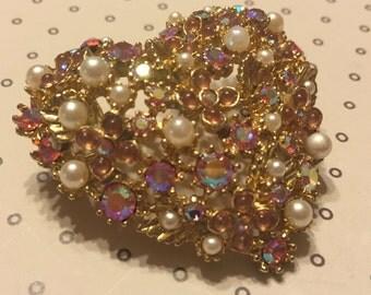 Vintage Jewel Encrusted Pink Heart Brooch