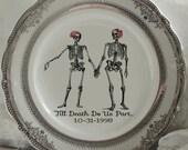 Bride & Bride Skeleton Couple Plate, Same Sex Wedding Plate, Gay Wedding, Bride and Bride Skull Plate, Wedding Dish, Wedding Monogram China