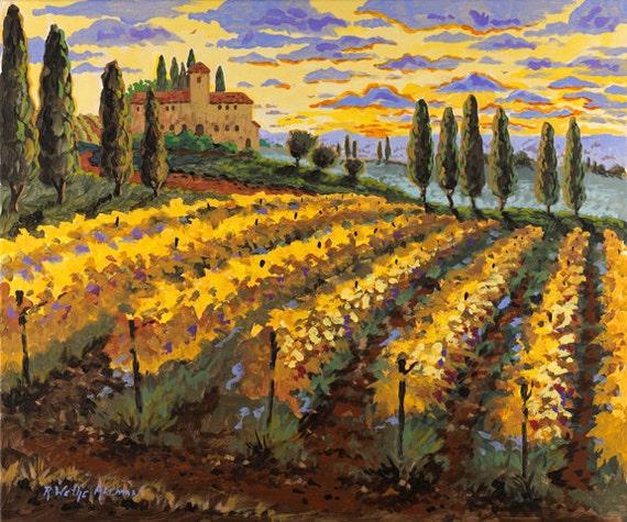 Italian Vineyard Painting, Tuscany Italy,  Cypress Trees Vineyard, Italian Villa