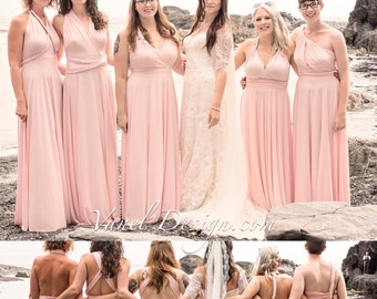 Bridesmaid Dress, INFINITY Blush Bridesmaids Dress Custom Designed CONVERTIBLE Bridesmaids Dress Long Blush Wrap dress Prom dress Formal