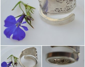 english 1917 BEAUTIFUL sterling silver SPOON RING handmade adjustable gift