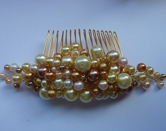 Hair comb: 50% OFF dense pearl clusters pearl bridal comb with blush shades of gold and cream, set on a gold comb