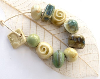 Handmade beads ~ 9 ceramic beads, 1 rabbit hare charm, green cream, porcelain jewellery components, clay bead set, unique spring components