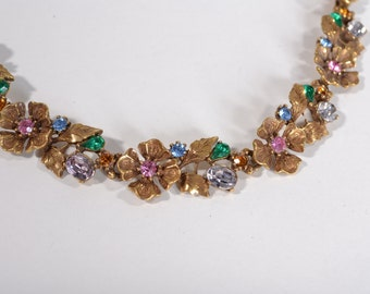 1950s Lisner Rhinestone Wedding Necklace - Jewel Gold Tone Floral - 1960s Bridal Fashions