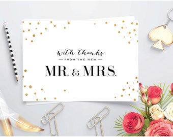 Printable Thank you card ~ Gold foil ~ Folded thank you ~ Wedding thank you card~ Mr and Mrs thank you ~ Newlywed thank you ~ New Mr and Mrs