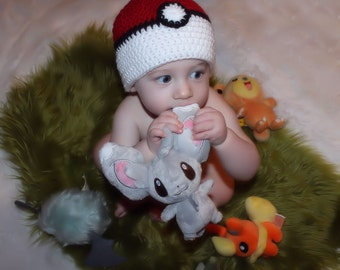 Pokemon, Baby Pokeball  Beanie, Pokemon Beanie, Gotta Catch 'em All, Photo Prop, Pokeball Beanie, Baby Hat, Ball Hat, Beanie