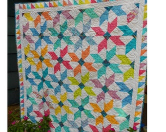 Fat Quarter Quilt Pattern -  Sugar Blossoms Batik Quilt Pattern - Throw - Lap  Size - PDF INSTANT DOWNLOAD