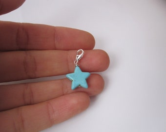 Blue STAR bead sterling silver clip on charm pendant, fits link charm bracelet