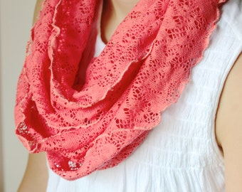 Salmon Pink Crochet Lace Infinity Scarf