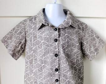 Stone Gray Thatched Print Hipster Shirt Size 4