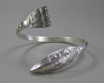 Sterling Raven Cuff, Haida, Pacific Northwest, Native American, Signed, Animal Totem, Tlingit, Vintage Jewelry
