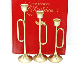 Trumpet Candle Holders - Vintage Brass Candleholders - Christmas Decor