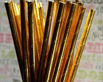 50 Gold Foil Party Straws, Gold Foil Wedding Straws, Gold Foil Drinking Straws