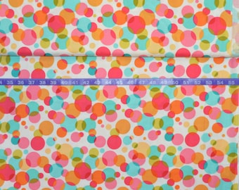 Michael Miller Bubble Blast in Watermelon - Pink, Orange, Turquoise Polka Dot Bubbles - Price based on size of cut