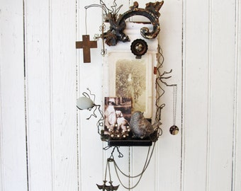 Assemblage Art Salvage Wall Shelf With Photo Holder -- Recycled White Architectural Chippy Wood Molding and Rusty Black Iron