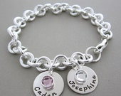 Two plus Baby/ Children Name charm Bracelet, Mother's Bracelet, Personalized Mom Bracelet with Birthstones