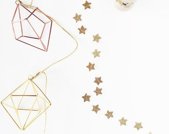 GOLD Glitter Star Paper Garland and Trim - 9 ft