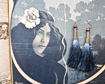 Silk Tassel Earrings, Deep Teal Blue Tassels, Serenity, Extra Long, Boho Jewelry, Faceted Pearls
