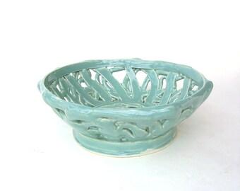 Vintage Coil Pottery Bowl Aqua Retro Mid century Handmade Abstract Ceramic Basket Art Pottery