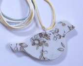 """Broken China Bird Pendant Brown and White with 32"""" Satin Cord  #477"""