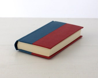 Handbound hard cover journal - Red, Blue spine, comic endpapers