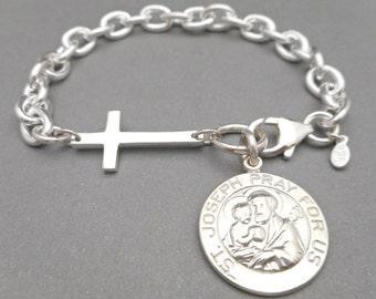 Silver Charm Bracelet - Cross Bracelet - Sideways Cross - St. Joseph Pray for Us - Pendant Bracelet - Religious Jewelry - Saint Pendat