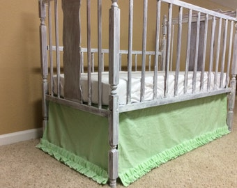 SALE TODAY ONLY! Green Gingham Crib Skirt, Ready to Ship, crib skirt with ruffle, crib bedding