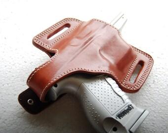 Glock 17,19,20,21,22,23,26,27,29,30,32,34,35,36,37 Leather Belt Handcrafted Holster Tan Black