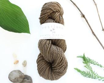 Dark Brown Merino Wool, naturally dyed yarn, Made in Toronto
