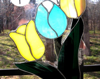 LT Stained glass 3 Tulip flower light and darker peach orange aqua green hand made in the USA