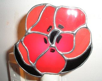 LT Stained glass flower red Poppy night light lamp made with 2 slightly different red opal glass