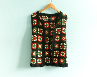 Vintage hand crochet vest waistcoat tunic top / floral / black red green white / womens / hippie boho ethnic gypsy folk / 70s / small medium