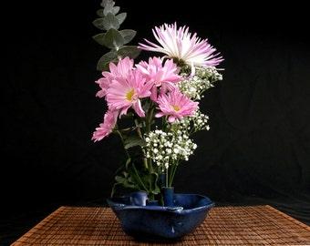 blue stoneware ikebana vase