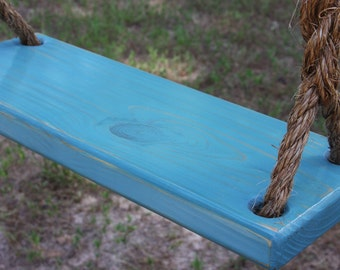 Wooden Blue Tree Swing, Double Rope