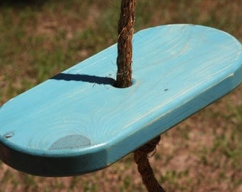 Single Rope Blue Wooden Disc Tree Swing
