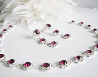 Pink Fuchsia 2 piece set Wedding Backdrop Necklace Bridal Necklace  Bridal Jewelry  Wedding Necklace bridal set- Backdrop Bridal Necklace