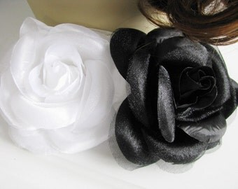 Choice of Black OR White Over Sized Rose Bridal Hair Piece pin sash or Brooch Bridal Flower fascinator
