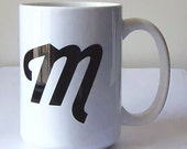 Monogram Large Coffee Mug, 15 oz. (All Letters Available)