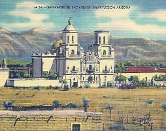 1930s Vintage Arizona Postcard San Xavier Del Bac Mission