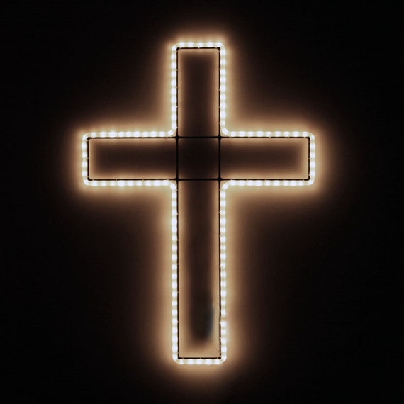 LED Lighted Christian Cross Rope Light Holiday Display, Religious Home Decor